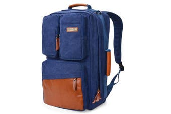 (23 inch / 58 CM, 58cm canvas blue) - WITZMAN Vintage Large Canvas Backpack Travel Rucksack Weekend Hiking Overnight Carry On Bag