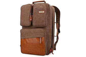 (23 inch / 58 CM, 58cm canvas brown) - WITZMAN Vintage Large Canvas Backpack Travel Rucksack Weekend Hiking Overnight Carry On Bag
