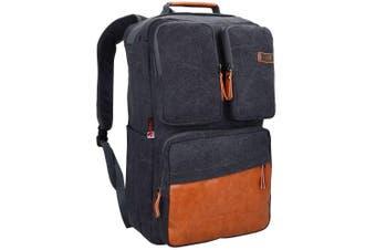 (23 inch / 58 CM, 58cm canvas black) - WITZMAN Vintage Large Canvas Backpack Travel Rucksack Weekend Hiking Overnight Carry On Bag