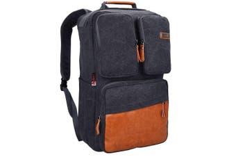 (20 inch / 51 CM, 51cm Canvas Black) - WITZMAN Vintage Large Canvas Backpack Travel Rucksack Weekend Hiking Overnight Carry On Bag