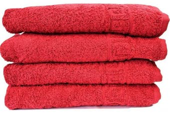 (Red, 2 Bath + 4 Hand Towels) - RED 2 LARGE BATH + 4 LARGE HAND TOWELS SET, 100% NATURAL COTTON 500 GSM ABSORBENT TOWEL, HOTEL QUALITY RINGSPUN 70X140 CM BATH TOWELS & 50X90 HAND TOWELS (Red, 2 Bath + 4 Hand Towels)