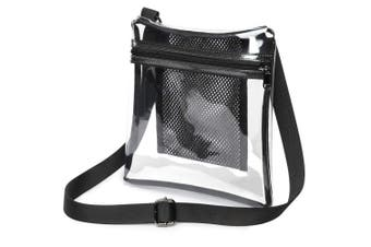 (Black) - Clear Crossbody Purse NFL Stadium Approved Clear Bag for Women and Man with Adjustable Strap