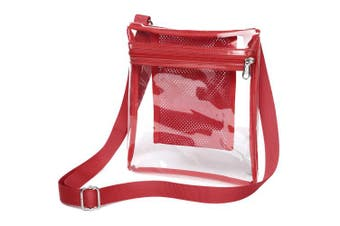 (Red) - Clear Crossbody Purse NFL Stadium Approved Clear Bag for Women and Man with Adjustable Strap