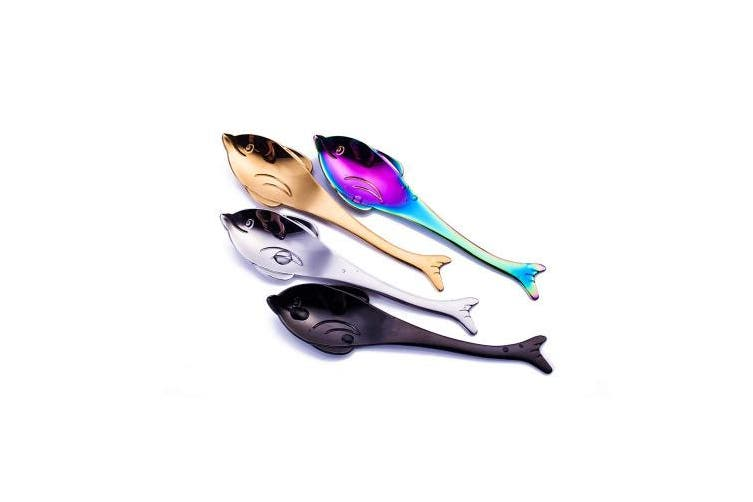(Dolphin) - 13cm Teaspoons 18/10 Stainless Steel, Ccinny Cute Small Coffee Spoons, Coffee Spoon, Espresso Spoons, Stirring Spoons, Mixing Spoon, Sugar Dessert Cake Spoon, Ice Cream Spoon, Set of 4