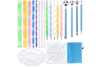 19PCS Mandala Dotting Tools Set Pen Dotting Tools Mandala Stencil Ball Stylus Paint Tray for Painting Rocks, Colouring, Drawing and Drafting by ABenkle