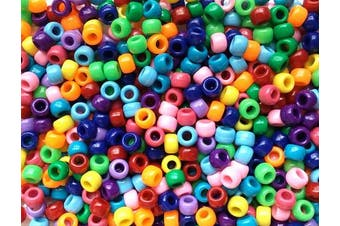 (Opaque Rainbow Basics Mix) - Rainbow Assortment Opaque Multicolor Mix Plastic Craft Pony Beads, 6 x 9mm, 500 Beads