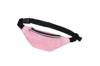 (Pink) - Basumee Kids Fanny Pack for Girls Glitter Fanny Pack Shiny Waist Bag for Kids Sports with Adjustable Belt