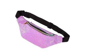 (Iridescent Violet) - Basumee Kids Fanny Pack for Girls Glitter Fanny Pack Shiny Waist Bag for Kids Sports with Adjustable Belt