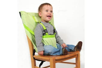 (Green) - Aurelius Portable High Chair for Babies and Toddlers Safety Harness Travel Booster Hook-on Seat Cover for Feeding (Green)