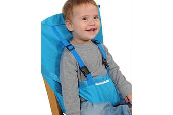 (Sky Blue) - Aurelius Portable High Chair for Babies and Toddlers Safety Harness Travel Booster Hook-on Seat Cover for Feeding (Sky Blue)