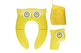 (YELLOW) - Portable Potty Seat on Toilet, Opret Foldable Travel Potty Training Seat with Large Non Slip Silicone Pads Reusable, for Toddlers Boys Girls with Carrying Bag, Yellow