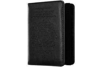 (Elastic-black) - WantGor RFID Blocking PU Leather Passport and Card Holders with Pen Slot and Sim Card Slots (Elastic-Black)