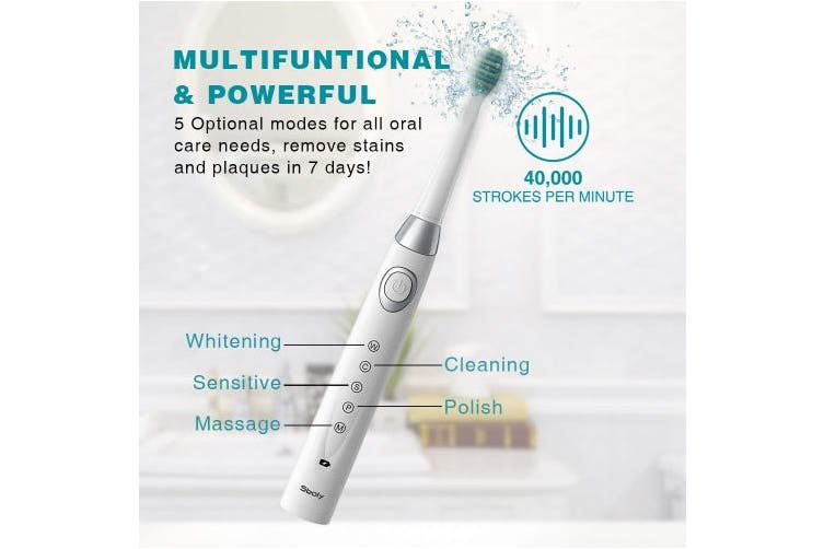 (Black&White) - 2 Sonic Electric Toothbrushes 5 Modes 8 Brush heads USB Fast Charge Powered Toothbrush Last for 30 Days, Built-in Smart Timer Rechargeable Toothbrushes for Adults and Kids (1 Black And 1 White)