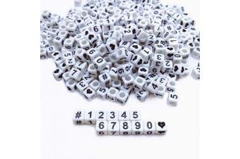 (Number beads) - Amaney 400pcs White Acrylic Number Beads 6x6mm Mixed Number Letter Beads Acrylic Plastic Cube Shape Loose Beads