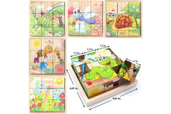 (Insect Animals) - Wooden Cube 3D Puzzle - Insect Animal | Wooden Cubes - 3D Puzzle (6 in 1) with Tray | Developing of Fine Motor Skills, Memory Toys for Kids | Learning Shape, Colour and Sorting | Birthday Gift for Kids