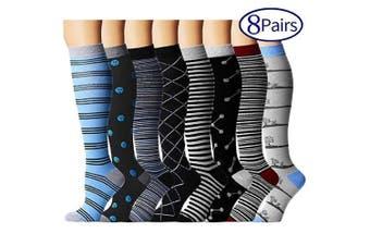 (S/M, Assort 8) - Compression Socks for Women and Men - Best Athletic,Fitness Nursing, Edoema,Diabetic,Varicose Veins,Maternity,Travel,Flight Socks. Boost Performance Blood Circulation & Recovery