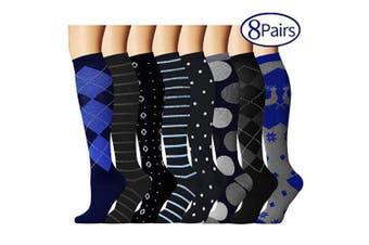(L/XL, Assort 6) - Compression Socks for Women and Men - Best Athletic,Fitness Nursing, Edoema,Diabetic,Varicose Veins,Maternity,Travel,Flight Socks. Boost Performance Blood Circulation & Recovery