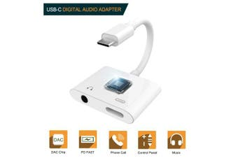 (USB C & 3.5mm(White)) - USB C Audio Adapter,2 in 1 Type-c to 3.5mm Headphone Jack with USB-C Charging Port,Support Phone Call and 2A Fast Charging,Compatible with Google Pixel 2/3 XL,Essential PH-1,MacBook Pro and More