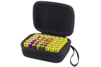 (S_Holds_48pcs) - COMECASE Hard Battery Organiser Storage Box Carrying Case Bag - Holds 48 Batteries AA (Not Include Tester and Any Accessories) - Black