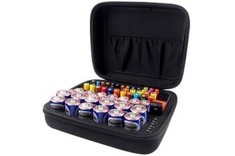 (M_Holds_80pcs+Tester) - COMECASE Hard Battery Organiser Storage Box Carrying Case Bag - Holds 80 Batteries AA AAA C D - - Come with D-FantiX Digital Battery Tester BT-168D -Black