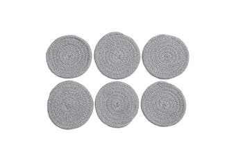 (11cm  Coaster, Light Gray) - SHACOS Cotton Coasters Set of 6 Cotton Rope Braided Woven Thick Coasters for Drinks Absorbent Heat Resistant (Light Grey, 11cm Coaster)
