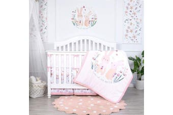 (5 Pieces, Rabbit Garden) - TILLYOU Luxury 8 Pieces Floral Crib Bedding Set (Crib Bumpers, Quilt, Crib Sheets, Crib Skirt) - Floral & Bunny Printed Nursery Bedding Set for Girls, Pink