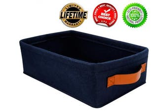 (11.4 L x 7.1 W x 3.9 H, Navy Blue) - Decorative Storage Baskets Small Baskets for Organising Bathroom Storage Basket Narrow Felt Fabric Storage Baskets Clothes Clothing Storage Box for Sheves Dog Toy Basket Organiser Storage Navy Blue