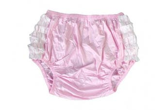 (XX-Large, Baby Pink) - Haian Adult Frilly Plastic Rumba Incontinence Pull-on Plastic Pants with White PVC Frilly (XX-Large, Baby Pink)