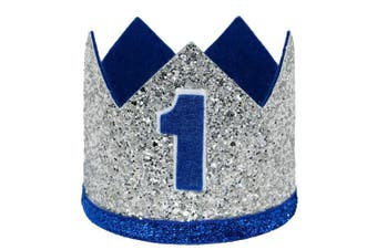 (Large Silver Royal 1) - Celebris Glitter Baby Boy First Birthday Crown Hat & Headband for Little Prince Princess Cake Smash Photo Prop (Large Silver Royal 1)