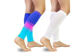 (L(Calf 33cm  - 39cm ), A2 - Colourful+white) - Compression Calf Sleeves (20-30mmHg) for Men & Women - Leg Compression Socks for Shin Splint,Running,Medical, Travel, Nursing
