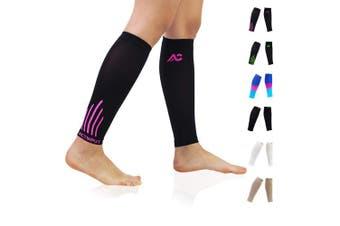 (X-Large, Black/Pink) - Compression Calf Sleeves (20-30mmHg) for Men & Women - Leg Compression Socks for Shin Splint,Running,Medical, Travel, Nursing