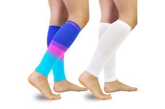 (M(Calf 23cm  - 32cm ), A2 - Colourful+white) - Compression Calf Sleeves (20-30mmHg) for Men & Women - Leg Compression Socks for Shin Splint,Running,Medical, Travel, Nursing