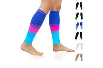 (Large (US Calf Size), Colourful) - Compression Calf Sleeves (20-30mmHg) for Men & Women - Leg Compression Socks for Shin Splint,Running,Medical, Travel, Nursing
