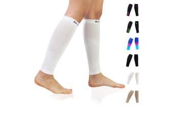 (M(Calf 23cm  - 32cm ), White) - Compression Calf Sleeves (20-30mmHg) for Men & Women - Leg Compression Socks for Shin Splint,Running,Medical, Travel, Nursing
