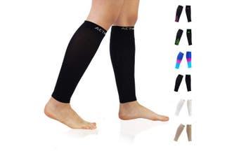 (M(Calf 23cm  - 32cm ), Black) - Compression Calf Sleeves (20-30mmHg) for Men & Women - Leg Compression Socks for Shin Splint,Running,Medical, Travel, Nursing