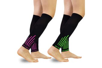 (M(Calf 23cm  - 32cm ), A4- Black/Green+ Black/Pink) - Compression Calf Sleeves (20-30mmHg) for Men & Women - Leg Compression Socks for Shin Splint,Running,Medical, Travel, Nursing