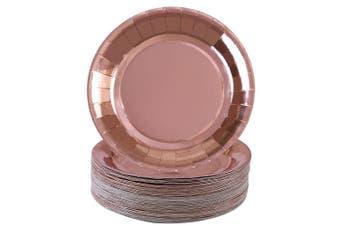 (23cm ) - Aneco 60 pieces Rose Gold Foil Paper Plates Round Disposable Paper Plates for Party, Wedding Supplies