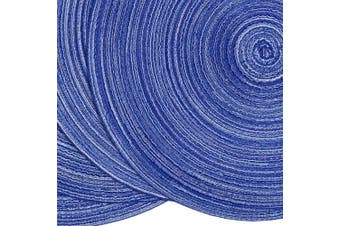 (4, Blue White) - SHACOS Round Braided Placemats 38cm Washable Kitchen Table Placemats for Home Wedding Party (Blue White, 4)