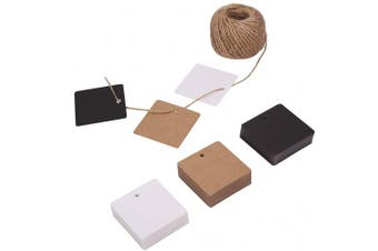 (Square) - 150ct Kraft Gift Tags Labels with String (3 Colours) (Square)