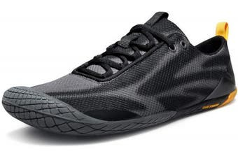 (9, Baretrek(bk32) - Black & Grey) - TSLA Men's Trail Running Minimalist Barefoot Shoe