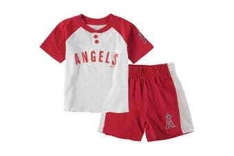(12 Months, Los Angeles Angels) - Outerstuff MLB Infants Toddler Good Hit Short Sleeve Henley & Shorts Set