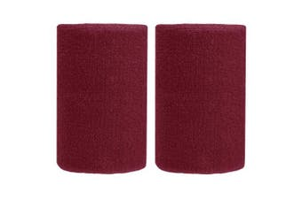 (Burgundy) - BBOLIVE 1.2m Inch Wrist Sweatband in 29 Different Neon Colours - Athletic Cotton Terry Cloth - Great for All Outdoor Activity(1 Pair)