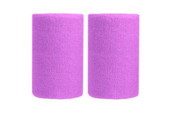 (light purple) - BBOLIVE 1.2m Inch Wrist Sweatband in 29 Different Neon Colours - Athletic Cotton Terry Cloth - Great for All Outdoor Activity(1 Pair)