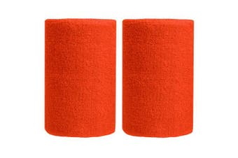 (Tangerine) - BBOLIVE 1.2m Inch Wrist Sweatband in 29 Different Neon Colours - Athletic Cotton Terry Cloth - Great for All Outdoor Activity(1 Pair)