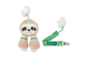BooginHead Baby Newborn, PaciPal and PaciGrip Pacifier Clip, Holder, Toy, Teether, Soothie, Universal Loop, Plush, Lovey, boy, Girl, Sloth, Green, Brown, 2 Piece Set
