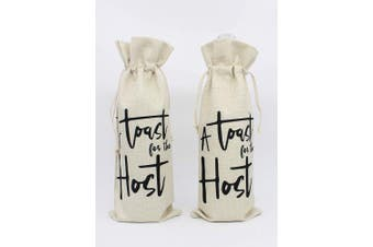 (atoastforthehost-setof1) - A Toast for the Host Wine bottle Bags- Best Gift for Housewarming Party Bridal Shower Perfect Gift for Hostess Women Wedding Girls Night Holiday -Cotton burlap wine bags with drawstring