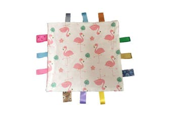 (Pink) - G-Tree Pink Baby Tag, Taggy Blanket - Pink Flamingo Tag, Taggy Blanket - Pale Pink Textured Underside