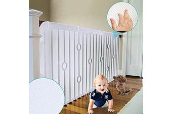 (80cm  x 4.6m) - 4UHeart Child Safety Net - 80cm x 4.6m, Rail Balcony Bannister Stair Net Safety for Kids Toys Pets, Safe for Indoor, Outdoor, Patios or Balcony Use (Upgrade)