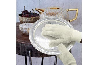 (S/M, White) - EvridWear Sterling Silver Polishing Cleaning Gloves with Terry Loop Cloth, Anti-Tarnish Removal Gloves for Jewellery, Gold, Brass, Copper, Blinds, Debris, Ring, Stainless, Metal, 2 Sizes (S/M)