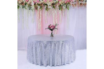 (340cm , Silver) - BalsaCircle TRLYC 340cm Round Wedding Sequin Tablecloth for Wedding Happy New Year 1.8m Table Cloth-Silver